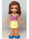 Minifig No: frnd364  Name: Friends Olivia, Bright Light Yellow Skirt, Dark Pink Top, Dark Azure Shoes