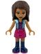 Minifig No: frnd368  Name: Friends Andrea, Magenta Skirt, Metal Blue Vest over Magenta Top