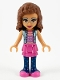 Minifig No: frnd370  Name: Friends Olivia, Dark Pink Skirt and Dark Blue Leggings, Dark Pink Top with Blue Jacket