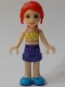 Minifig No: frnd384  Name: Friends Mia, Dark Purple Shorts, Yellowish Green Top with Vines