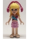 Minifig No: frnd398  Name: Friends Stephanie, Bright Pink Layered Skirt, Magenta and Medium Blue Swimsuit Top, Headphones