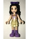 Minifig No: frnd406  Name: Friends Emma, Tan Dress with Straps, Medium Lavender Boots, Dark Purple Bow