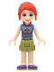 Minifig No: frnd421  Name: Friends Mia, Olive Green Shorts, Dark Purple Shoes and Top with Diamonds and Triangles