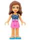 Minifig No: frnd424  Name: Friends Olivia, Dark Pink Skirt, Dark Blue Top with Constellations