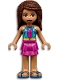 Minifig No: frnd444  Name: Friends Andrea, Dark Turquoise Halter Top with Magenta Stripes and Dots, Magenta Skirt