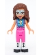Minifig No: frnd447  Name: Friends Olivia, Metallic Light Blue and White Face Paint, Bright Pink Pants, Black and White Boots