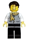 Minifig No: fus001  Name: Striped Vest with Yellow Striped Scarf, Black Legs, Dark Brown Tousled Hair