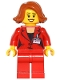 Minifig No: game011  Name: Press Woman / Reporter - Red Legs, Dark Orange Female Hair Short Swept Sideways, Peach Lips, Open Mouth Smile