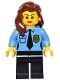 Minifig No: game013  Name: Police - Female Officer, Black Legs, Reddish Brown Hair Mid-Length with Part over Right Shoulder, Crow's Feet and Beauty Mark