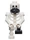 Minifig No: gen094  Name: Skeleton with Standard Skull, Scarf, Bent Arms and Short Black Leg