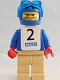 Minifig No: gg006s  Name: Snowboarder, Blue Shirt, Tan Legs, White Vest, Number 2 Sticker on Both Sides