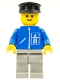 Minifig No: hgh009  Name: Highway Pattern - Light Gray Legs, Black Hat