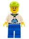 Minifig No: hol016  Name: White Hoodie with Blue Pockets, Blue Legs, Lime Short Bill Cap