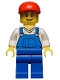 Minifig No: hol019  Name: Overalls Blue over V-Neck Shirt, Blue Legs, Red Short Bill Cap, Open Grin