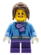 Minifig No: hol026  Name: Medium Blue Jacket with Light Purple Scarf, Dark Purple Short Legs, Dark Brown Hair Ponytail Long with Side Bangs
