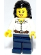 Minifig No: hol027  Name: Female White Blouse with Belt, Dark Blue Legs