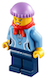 Minifig No: hol029  Name: Medium Blue Female Shirt with Two Buttons and Shell Pendant, Dark Blue Legs, Red Bandana, Medium Lavender Knit Cap