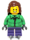 Minifig No: hol039  Name: Winter Jacket Zipper, Dark Purple Short Legs, Reddish Brown Female Hair Mid-Length, Ice Skates