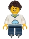 Minifig No: hol052  Name: White Hoodie with Blue Pockets, Dark Blue Short Legs with Skates, Dark Brown Hair Ponytail Long French Braided