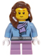 Minifig No: hol059  Name: Medium Blue Jacket with Light Purple Scarf, Medium Lavender Short Legs, Reddish Brown Female Hair over Shoulder