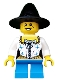 Minifig No: hol062  Name: Girl, Black Witch Hat, Pirate Female Corset, Short Dark Azure Legs, Freckles