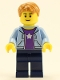 Minifig No: hol084  Name: Boy, Bright Light Blue Hoodie with White Star, Dark Blue Legs, Medium Dark Flesh Hair Short Tousled with Side Part