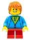Minifig No: hol087  Name: Birthday Boy, Dark Orange Hair, Dark Azure Torso Hoodie, Red Short Legs