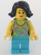 Minifig No: hol089  Name: Female Lime Halter Top with Dolphin Pattern, Medium Azure Legs, Black Female Hair Short Swept Sideways