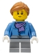Minifig No: hol099  Name: Medium Blue Jacket with Light Purple Scarf, Light Bluish Gray Short Legs, Freckles