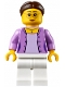 Minifig No: hol102  Name: Grandma - Medium Lavender Jacket over Lavender Shirt, White Legs, Brown Hair in a Bun