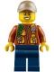 Minifig No: hol109  Name: City Jungle Explorer - Dark Orange Jacket with Pouches, Dark Blue Legs, Dark Tan Cap with Hole, Big Smile