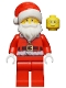 Minifig No: hol110  Name: Santa, Red Legs, Fur Lined Jacket with Button, Glasses