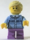 Minifig No: hol111  Name: Girl - Fair Isle Sweater, Bright Light Yellow Ponytail, Lavender Legs Short, Freckles