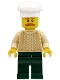 Minifig No: hol129  Name: Chef - Tan Knit Sweater, Dark Green Legs, Bushy Moustache