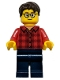 Minifig No: hol131a  Name: Plaid Flannel Shirt with Collar and 5 Buttons, Dark Blue Legs, Dark Brown Hair, Glasses