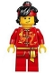 Minifig No: hol135  Name: Dragon Dance Performer, Top Knot and Headband, Scared / Lopsided Smile