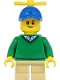 Minifig No: hol163a  Name: Boy - Freckles, Green Sweater V-Neck over Button Down Shirt Collar with 1 Button, Tan Short Legs, Blue Cap with Tiny Yellow Propeller