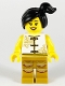 Minifig No: hol176  Name: Woman, Lion Dance, White Shirt, Gold Legs with Fringe