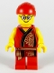 Minifig No: hol180  Name: Lion Dance Musician, Red Head Wrap, Glasses, Red Robe with Gold Dragon