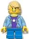 Minifig No: hol182  Name: Birthday Boy, Tan Hair, Bright Light Blue Hooded Sweatshirt, Dark Azure Short Legs