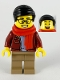 Minifig No: hol187  Name: Man, Black Hair, Glasses, Red Scarf, Dark Red Jacket, Sand Blue Shirt, Dark Tan Legs