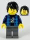 Minifig No: hol190  Name: Man, Black Hair, Dark Azure Plaid Vest, Dark Blue Banana Shirt, Dark Bluish Gray Legs