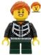 Minifig No: hol207  Name: Girl - Black Hoodie with Skeleton Torso, Dark Green Short Legs, Dark Orange Hair