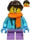 Minifig No: hol215  Name: Girl - Medium Azure Winter Jacket, Medium Lavender Short Legs, Dark Brown Hair, Orange Scarf