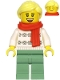 Minifig No: hol216  Name: Woman, White Turtleneck Sweater, Sand Green Legs, Bright Light Yellow Hair, Red Scarf