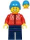 Minifig No: hol217  Name: Man, Red Winter Jacket, Dark Blue Legs, Dark Azure Ski Beanie Hat