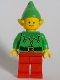 Minifig No: hol219  Name: Elf - Green Scalloped Collar with Bells, Red Legs
