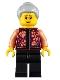Minifig No: hol220  Name: Grandmother, Floral Shirt, Black Legs, Light Bluish Gray Hair, Glasses