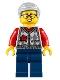 Minifig No: hol221  Name: Grandfather, Argyle Cardigan over Red Shirt, Dark Blue Legs, Light Bluish Gray Hair