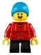 Minifig No: hol223  Name: Child Boy, Red Shirt, Black Short Legs, Dark Azure Beanie